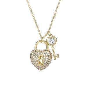 Jewelry - 14k gold plated cz diamond heart & key necklace